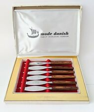 1960's Vintage Set 6 Mode Danish Mode Mid Century Modern Steak Knives Unused