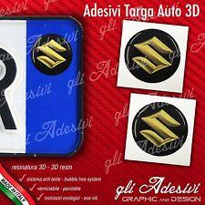 2 Adesivi Stickers bollino 3D Resinato targa Auto Moto SUZUKI Yellow Gold