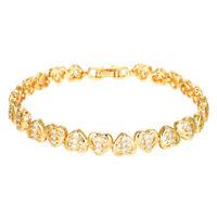 Women Girls 18K Gold plated Elegant Cute Heart CZ Charm Bracelet Jewelry Gifts