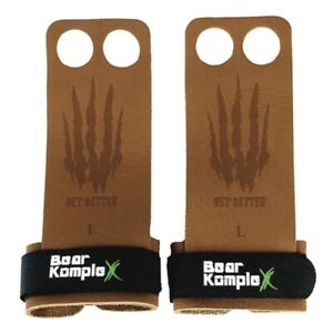 Bear KompleX Tan Leather Pullup Grips | CrossFit Palm Protector Gym Gloves LARGE