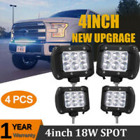 "4x 4"" inch 18W Flood Led Work Light Fog Reverse Cube Pods Offroad SUV ATV UTE"