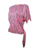 MICHAEL Michael Kors Women's Short Sleeve Printed Tie Hem Blouse PS, Red/Black