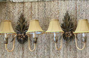 Pair Hollywood Regency Painted Wood Toile Metal Wired Wall Sconce Free Ship