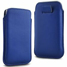 For Lenovo S750 - Blue PU Leather Pull Tab Case Cover Pouch