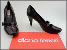 DIANA FERRARI WOMEN'S PATENT LEATHER BURGUNDY HEELS SHOES SIZE 9.5