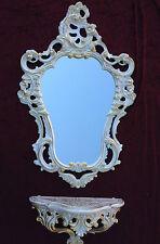Espejo de pared con consola Grande Bandeja Blanco Oro x 50 76 antigua Barroco