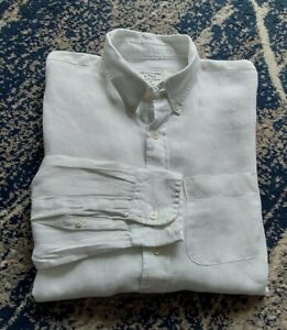 """Abercrombie And Fitch M Linen P2P22"""" White Long Sleeve Shirt"""