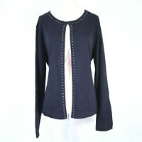 Kasper Navy Blue Cardigan Sweater Size Large Womens Rhinestone Wool Blend euc