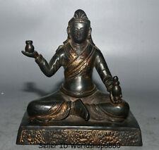 "7.2"" Old Tibetan Buddhism Temple Purple Bronze Gilt Je Tsongkhapa Buddha Statue"