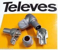"""Conector """"CEI"""" Acodado MACHO 9.5mm TELEVES 4130 Cable coaxial Antena TDT TV"""