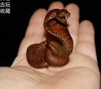 Collect Antique Tea Pet Pure Solid Copper cobra Handwork Chinese Statue snake