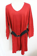 2X Woman NY COLLECTION Thin Knit Dress w/Belt/Women's Dress/NWT RED