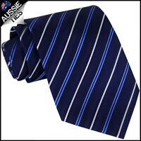 Black Dark Blue & White Stripes Mens Necktie Men's Tie