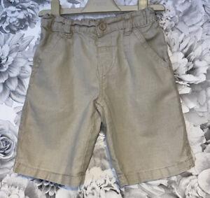 Boys Age 3-4 Years - Next Beige Shorts - Part Linen