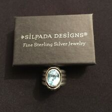 RARE SIZE 9 Silpada R0902 Blue Topaz Sterling Silver Ring .925 Retired Ribbed
