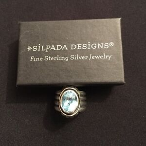 RARE SIZE 8 Silpada R0902 Blue Topaz Sterling Silver Ring .925 Retired Ribbed