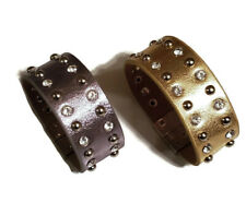 Gray & Gold metallic rhinestone & stud magnet bracelet. Genuine Leather
