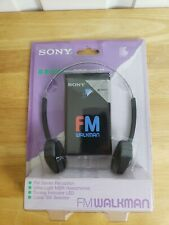 RARE - SONY FM WALKMAN SRF-16W STEREO RECEIVER HEADPHONES BLACK
