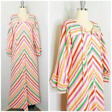 Vintage 70s Rainbow Caftan MuuMuu House Dress Size S/M Striped Seersucker