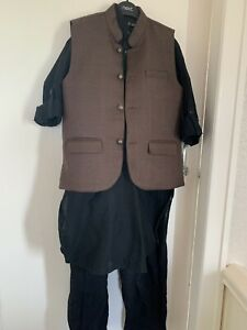 Designer Black Linen Shalwar Kameez , ,waistcoat Perfect For Wedding Rrp £99.99