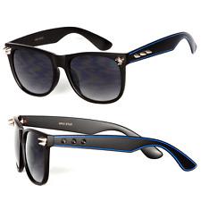 Retro Clásico Montura Cuadrada Tachuela Gafas de Sol - Azul / S. Negro Wf11
