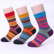 HIGH COLOR SOCKS (5-PACK) WINTER THERMAL ETHNIC PATCH THICK COTTON COZY KNIT  TI
