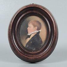 Antique Watercolor Portrait Miniature Painting - Young Boy Sitter - American? VR