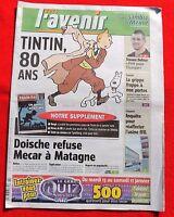 Tintin dans la Presse - Tintin 80 ans - L'AVENIR janvier 2009.