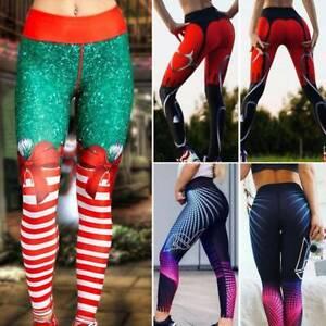Womens Push Up Leggings High Waist Yoga Pants Fitness Workout Gym Print Trousers