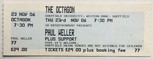Paul Weller Original Unused Concert Ticket The Octagon Sheffield 23rd Nov 2006