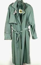 FLEET STREET Womens Double Breast Full Length Trench Coat Size 6 Green Polyester