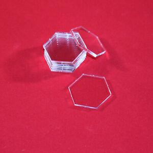 HEXAGONAL (HEXAGON) 32mm TRANSPARENT / CLEAR ACRYLIC BASES for Miniatures