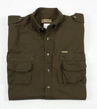 Remington Mens Olive Green Short Sleeve Button Hunting Safari Utility Shirt XL