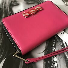 Marc Jacobs New York Begonia Pink Leather Zip Around Cell Case Wallet Wristlet