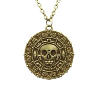 Antique Bronze Pirates of The Caribbean Aztec Coin Medallion Skull Goth Necklace