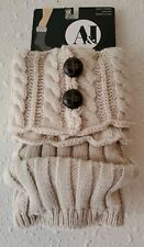 A&I Ivory Cream w/ Brown Buttons Acrylic Boot Topper