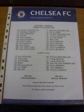 05/10/2014 Colour Teamsheet: Chelsea v Arsenal  . Bobfrankandelvis the ebay trad