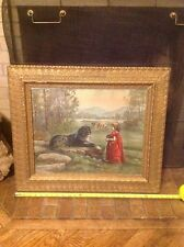 1905 McLoughlin Bros NY Picture In Antique Gold Color Frame Child W Camera Dog