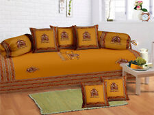 Indian 100 % Cotton Yellow Diwan Set Diwan Cover Cushion Covers Bolster Covers