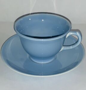 Vintage Taylor, Smith & Taylor Lu-Ray Pastels Blue Coffee Cup with Saucer