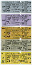 Louis Armstrong Original 1961 Unused Concert Ticket - Set of Five (5) Tickets