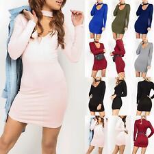 Ladies Womens Mini Dress Keyhole Cut Polo Choker V Neck Tunic Curved Hem Bodycon