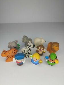 Fisher Price Little People Zoo Animal Lot of 10 pieces 3 human 7 animals.