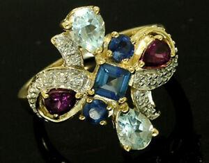R191 Genuine 9K Gold Natural Multi-gem Sapphire, Topaz & Diamond Colorful Ring
