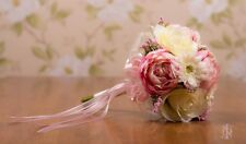 Silk Rose & Peony Bridesmaids Bouquet in Pink & Ivory, Bridal, Flower Girl.