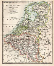 Antique Map Of Netherlands Belgium Luxemburg Holland C1900 W&AK Johnston