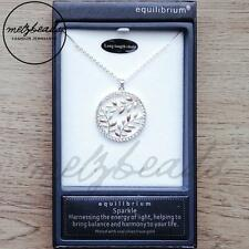 Equilibrium Silver & Rose Leaves Long Sparkle Necklace Gift for Mum Women Her