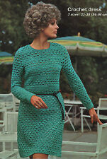Vintage Crochet Pattern for Lady's Dress/Tunic. 33 to 38 Inch Bust.