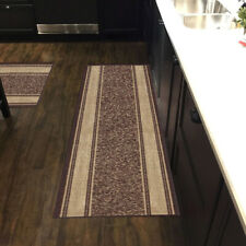 Custom Size Stair Hallway Runner Rug Non Slip Rubber Back Brown & Beige Border