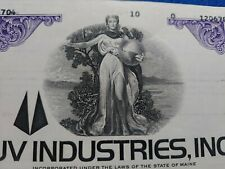 Cancelled Stock Certificate - UV Industries Inc. - Common less than 152 shares -